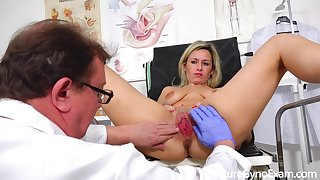 Real shafting machine orgasm be advisable for shy blond hair babe mom in gyno chair