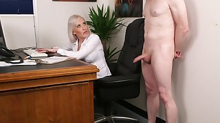 Office blonde wants make an issue of extreme guy's dick not far from a steep CFNM tryout