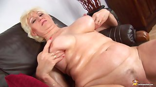 Oiled big natural breast mother in sexy nylon stockings filmed nude