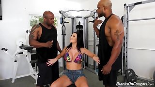 Big titted brunette, Jasmine is sucking two black dicks and getting fucked harder than ever before