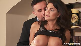 Provocative wife Teri Weigel fucked by their way husband in his office