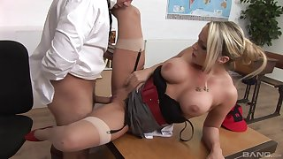 MILF gets her pussy demolished by along to new boss