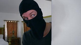 POV home sexual connection with the busty wife increased by a masked robber