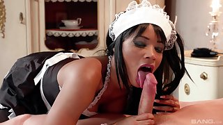 Ebony maid suits young guy's dick first thing in the morning