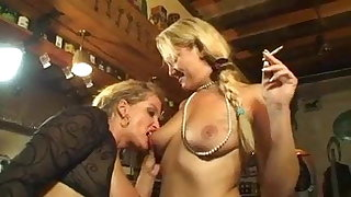 Smoking light-complexioned lesbians