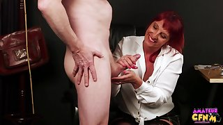 Redhead cutie Beau Diamonds loves watching a dude masturbate