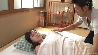 Passionate lovemaking on the bed with Japanese MILF Kawakami Yuu