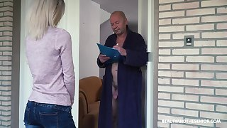 Crazy old fart gets to leman a pretty young woman and that girl is so sweet