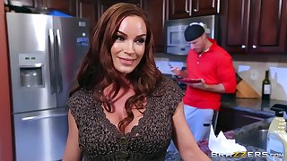 Rough action encircling the kitchen after mommy strips nude