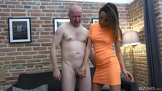 Older dude gets his dick jerked off by a cute younger chick