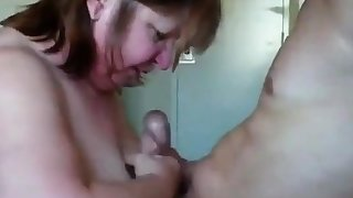 British mature garden-variety with young guy sucking and fucking