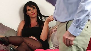 Hot brunette keeps her threads on when dealing with older man's penis