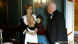 Blonde maid strips for dramatize expunge master of dramatize expunge house and gets laid with him