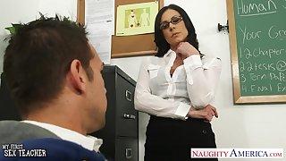 X nerdy abstruse teacher Kendra Lust is approachable for wild riding on apex