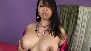 Chubby chick Mika Tan spreads her legs to ride a large best part