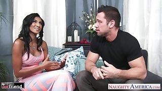 Married guy Johnny fucks super sexy wife's friend Sadie Santana