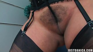 Naughty wife Danica Collins spreads her botheration cheeks and masturbates
