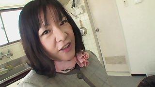 Vitiated Japanese housewife sucking a dick in POV - Kiyoe Majima