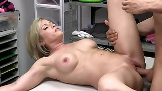 Security office-holder blackmails sexy blond MILF into quick affair