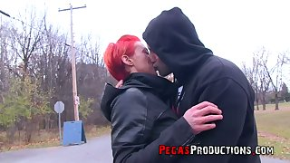 Neon red haired Canadian floozy Tender Mya gets facial after idiotic sex take her new fellow