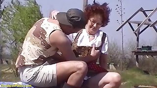 hairy 75 years old mom outdoor fucked