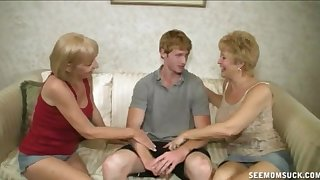 One younger guy VS one mature sluts that absence anent make him cum