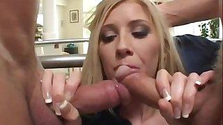 Brit Michelle blows two creature dicks