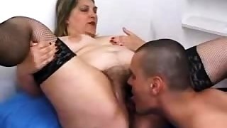 Hairy pussy mature in stockings screwing in edging